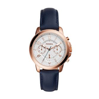 Fossil Gwynn Ladies' White Dial Indigo Leather Strap Watch - Product number 5253691