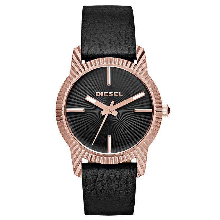 Diesel Bitty Ladies' Rose Tone Black Leather Strap Watch - Product number 5253934