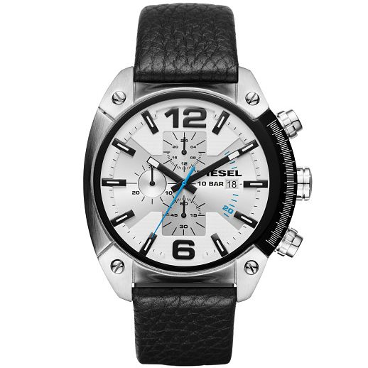 Diesel Overflow Men's White Dial Black Leather Strap Watch - Product number 5253985