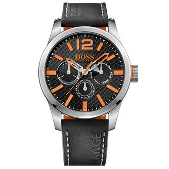 Boss Orange Paris Men's Black Dial Black Leather Strap Watch - Product number 5254000