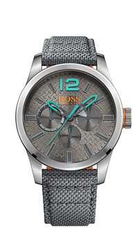 Boss Orange Paris Men's Grey Dial Silver Fabric Strap Watch - Product number 5254043