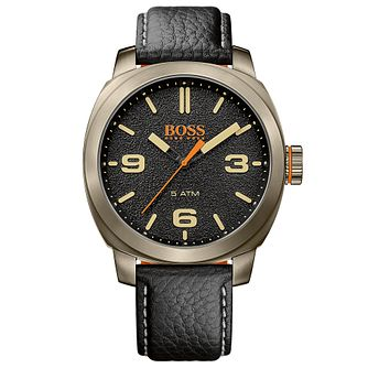 Boss Orange Capetown Men's Black Leather Strap Watch - Product number 5254078
