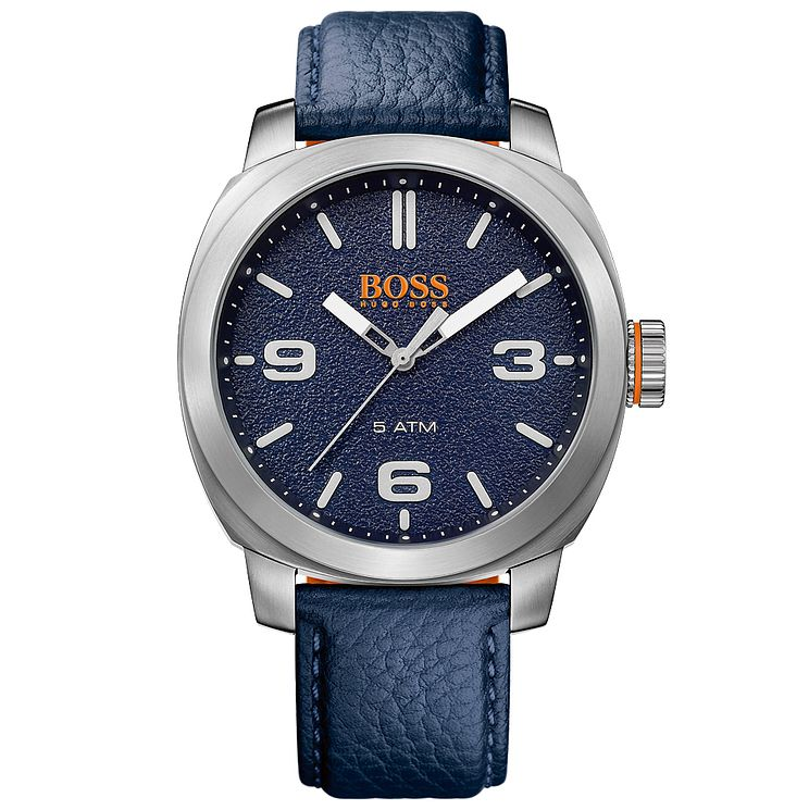 Boss Orange Capetown Men's Blue Leather Strap Watch - Product number 5254086