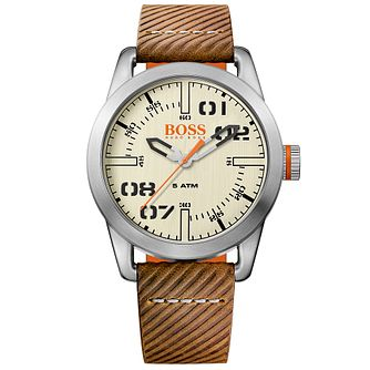 Boss Orange Oslo Men's Brown Leather Strap Watch - Product number 5254116