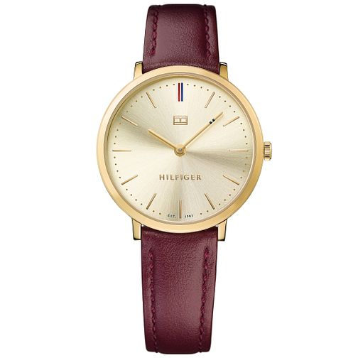 Tommy Hilfiger Ladies' Gold Tone Maroon Leather Strap Watch - Product number 5254310