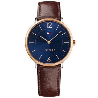 Tommy Hilfiger Men's Blue Dial Brown Leather Strap Watch - Product number 5254418