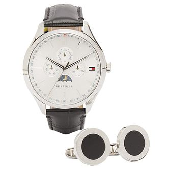 Tommy Hilfiger Men's Leather Strap Watch & Cufflink Set - Product number 5254434