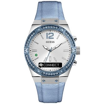 Guess Connect Silver & Sky Blue 41mm Smartwatch - Product number 5257433