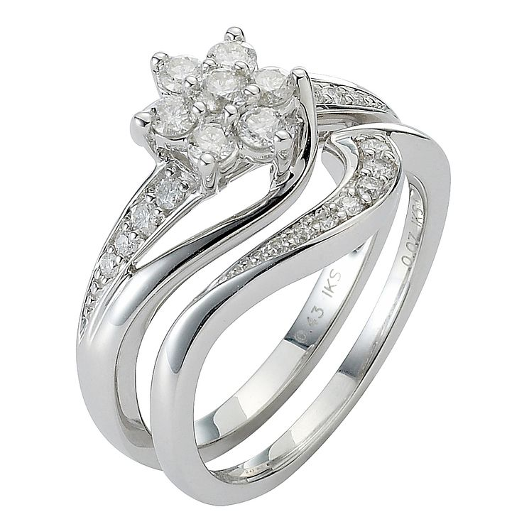 18ct White Gold 1/2ct Diamond Perfect Fit Bridal Set - Product number 5258138