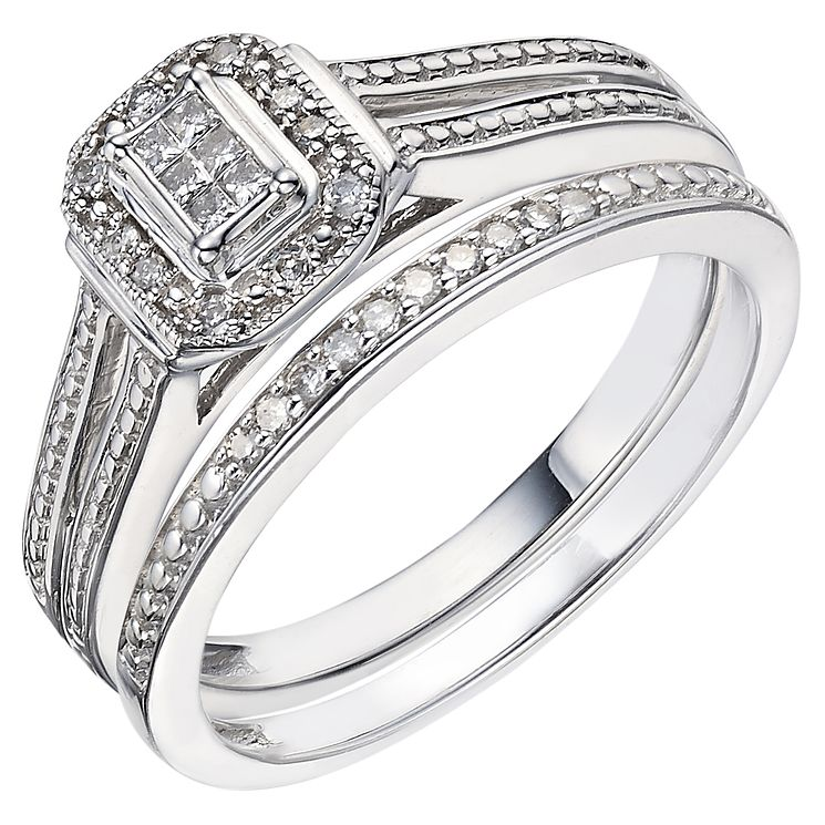 18ct White Gold 0.12ct Diamond Perfect Fit Bridal Set - Product number 5259975