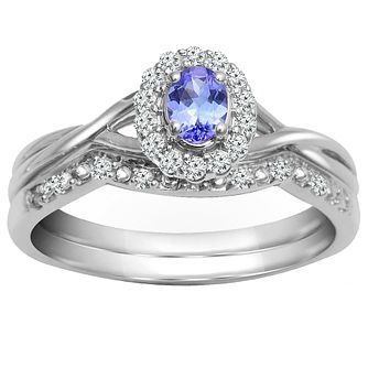 9ct White Gold Tanzanite & Diamond Perfect Fit Bridal Set - Product number 5260361