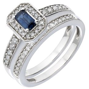 18ct White Gold Diamond Sapphire Perfect Fit Bridal Set H Samuel