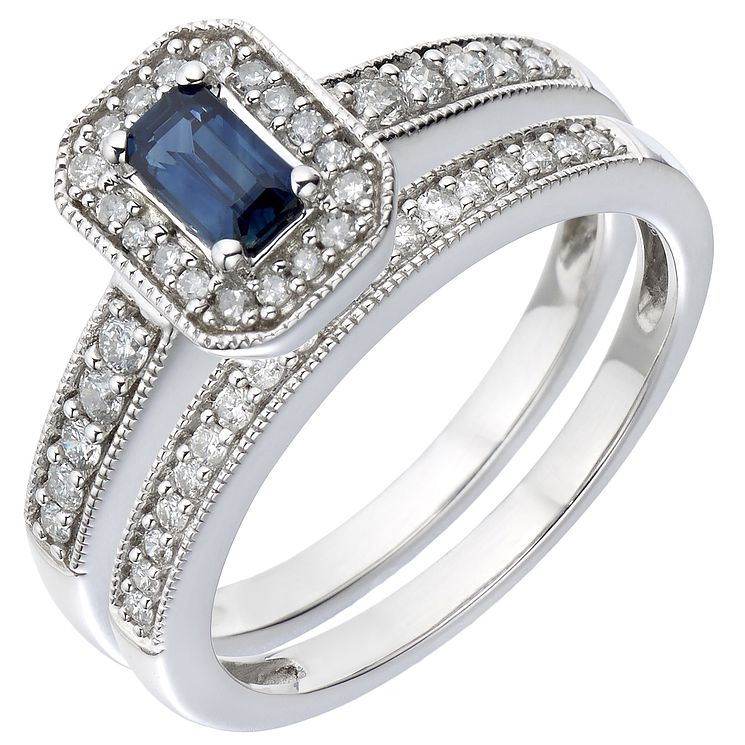 18ct White Gold Diamond & Sapphire Perfect Fit Bridal Set - Product number 5260701