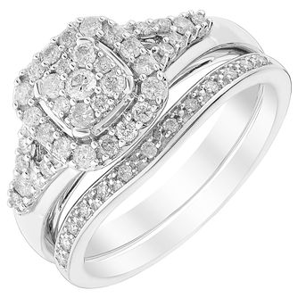 Platinum 1/2ct Diamond Perfect Fit Bridal Set - Product number 5260833
