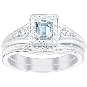 18ct White Gold Aquamarine & Diamond Perfect Fit Bridal Set - Product number 5261376
