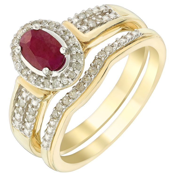 18ct Yellow Gold Ruby & Diamond Perfect Fit Bridal Set - Product number 5261503