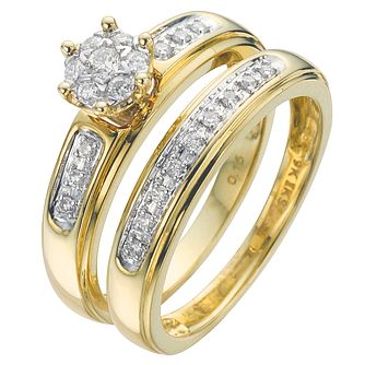 18ct Yellow Gold 1/5ct Diamond Perfect Fit Bridal Set - Product number 5262518