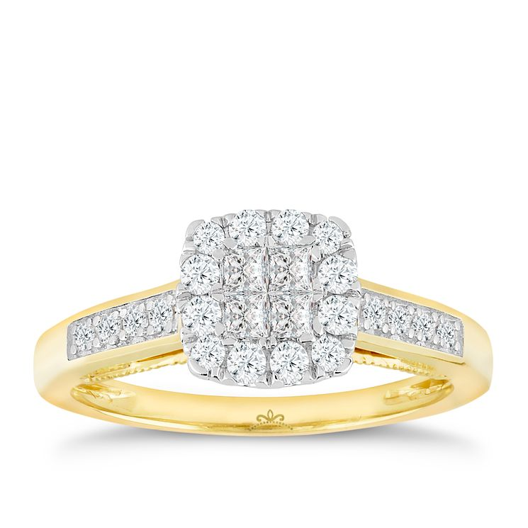 18ct Yellow Gold 1/2 Carat Princessa Diamond Cluster Ring - Product number 5263042
