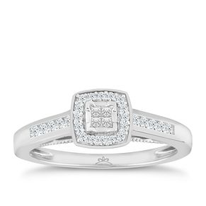18ct White Gold 1/4 Carat Princessa Diamond Cluster Ring - Product number 5263719