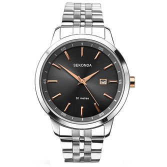 Sekonda Men's Black Dial Stainless Steel Bracelet Watch - Product number 5267382