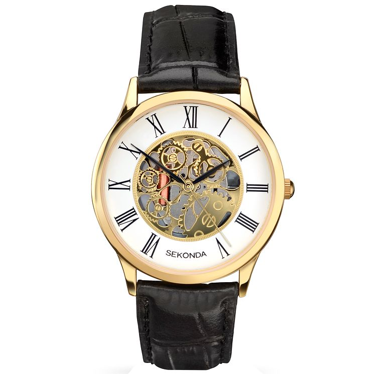Sekonda Men's Skeleton Dial Black Leather Strap Watch - Product number 5267420