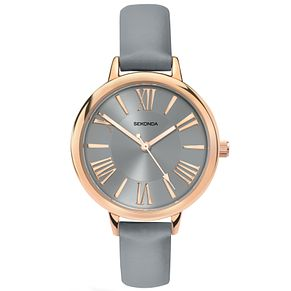 Sekonda Editions Ladies' Grey Dial Grey Leather Strap Watch - Product number 5267471