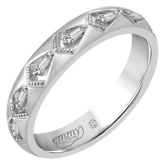 Emmy London 18ct White Gold 1/10 Carat Baguette Diamond Ring - Product number 5271886