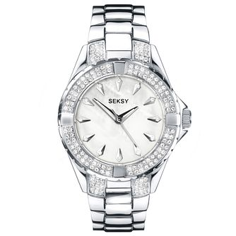 Seksy Ladies' Stone Set Silver Bracelet Watch - Product number 5274494