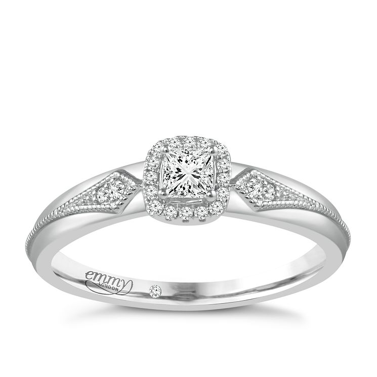 Emmy London 9ct White Gold 1/3 Carat Diamond Solitaire Ring - Product number 5288347
