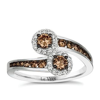 Le Vian 14ct Vanilla Gold Chocolate Diamond Crossover Ring - Product number 5289122