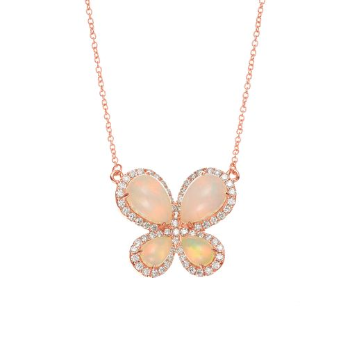 Le Vian 14ct Strawberry Gold Opal Diamond Butterfly Necklace - Product number 5289246