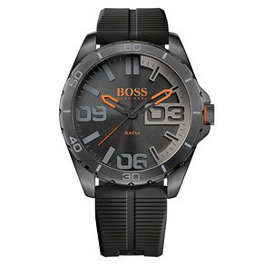 Boss Orange Berlin Men's Black Silicone Strap Watch - Product number 5291569