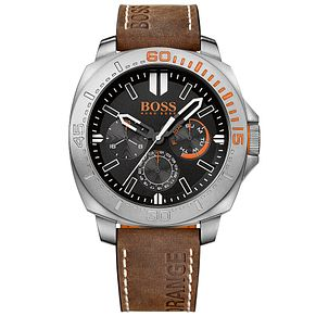 Boss Orange Men's Brown Leather Strap Watch - Product number 5291585