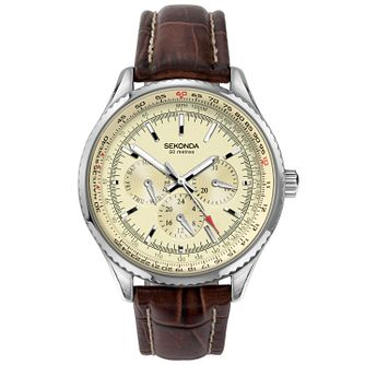 Sekonda Men's Cream Dial Brown Leather Strap Watch - Product number 5291798