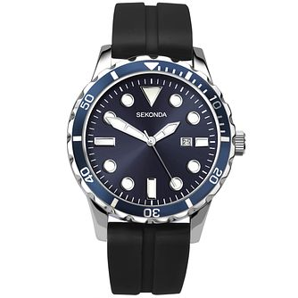 Sekonda Men's Blue Dial Black Silicone Strap Watch - Product number 5291801
