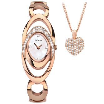 Seksy Ladies' Rose Tone Bracelet Watch & Pendant Set - Product number 5291860