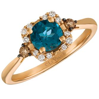 14ct Strawberry Gold Deep Sea Blue Topaz and Diamond Ring - Product number 5291941
