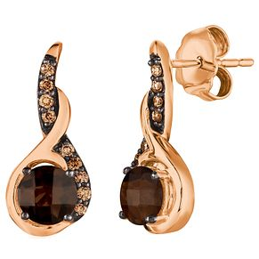 14ct Strawberry Gold Chocolate Quartz and Diamond Earrings - Product number 5292212