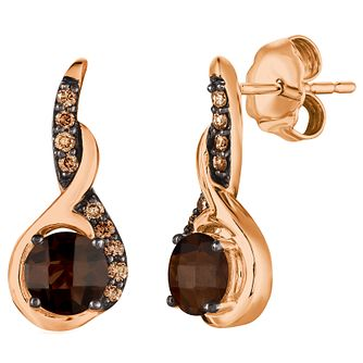 14ct Strawberry Gold™ Chocolate Quartz™ and Diamond Earrings - Product number 5292212