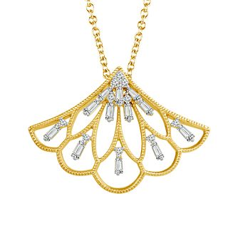 Emmy London 9ct Gold 1/4 Carat Diamond Set Fan Pendant - Product number 5292794