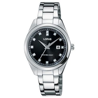 Lorus Ladies' Stone Set Stainless Steel Bracelet Watch - Product number 5292832