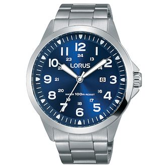 Lorus Men's Blue Dial Stainless Steel Bracelet Watch - Product number 5292859