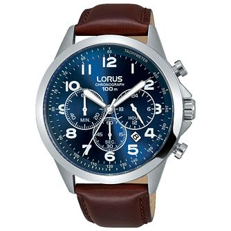 Lorus Men's Chronograph Blue Dial Brown Leather Strap Watch - Product number 5292891