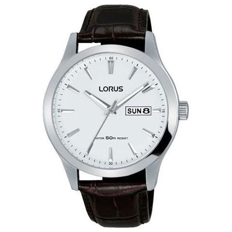 Lorus Men's White Dial Brown Leather Strap Watch - Product number 5292913