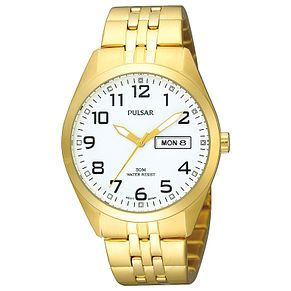 Pulsar Men's White Dial Gold-Plated Bracelet Watch - Product number 5292999