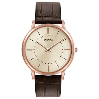 Bulova Men's Classic Silver Dial Brown Leather Strap Watch - Product number 5293251