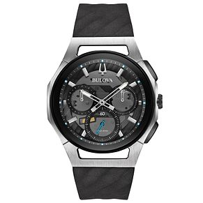 Bulova Curv Men's Chronograph Black Rubber Strap Watch - Product number 5293308