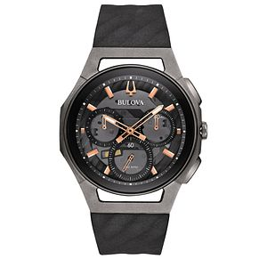 Bulova Curv Men's Chronograph Black Rubber Strap Watch - Product number 5293316