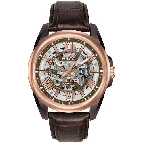 Bulova Men's Automatic Brown Leather Strap Watch - Product number 5293324