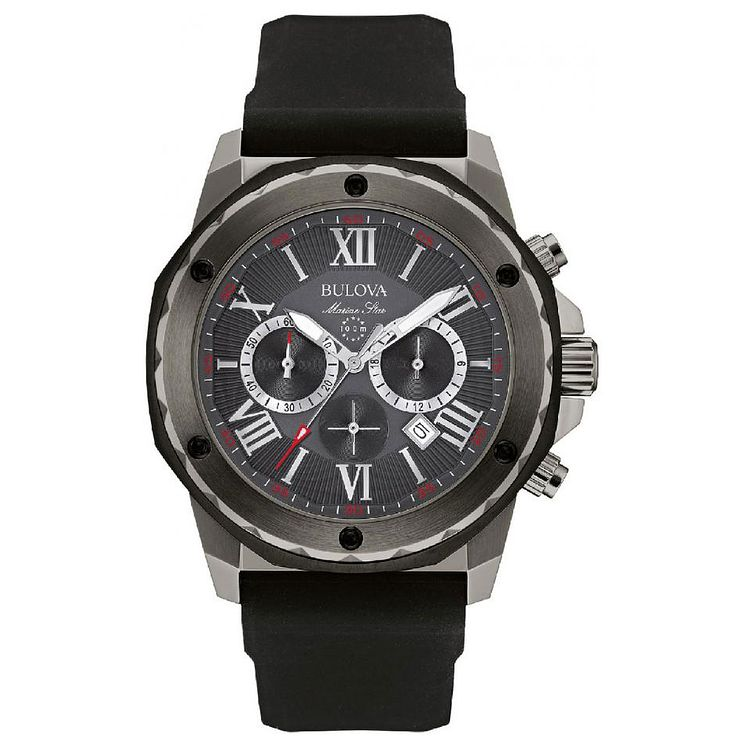 Bulova Marine Star Men's Grey Dial Black Rubber Strap Watch - Product number 5293340